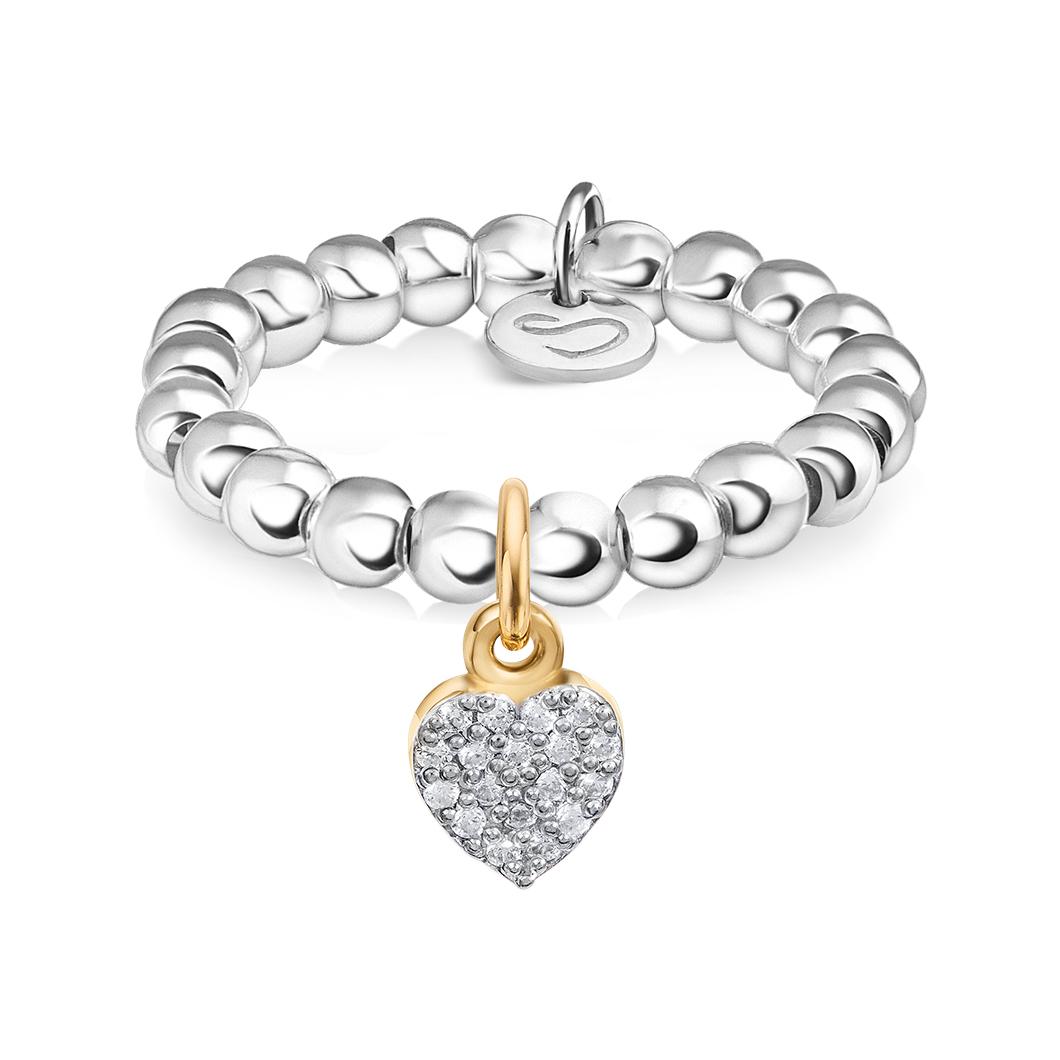 Кольцо из бусин с шармиком на петельке «Сердце с камушками»
