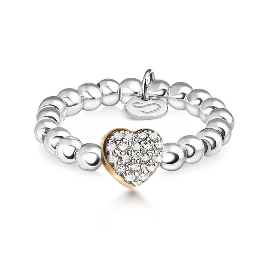 Кольцо из бусин «Сердце с камушками»