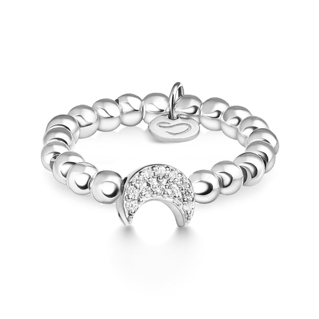 Кольцо из бусин «Месяц с камушками»
