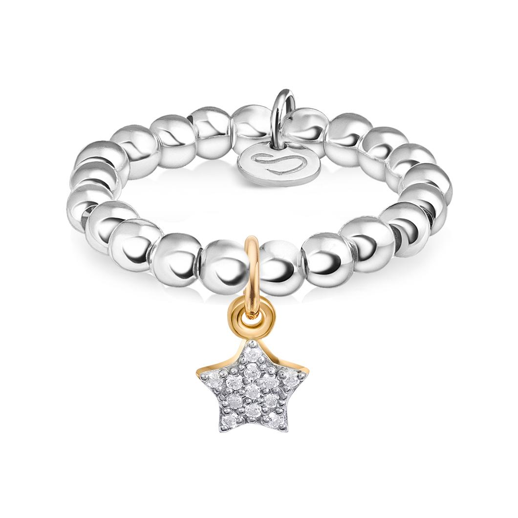 Кольцо из бусин с шармиком на петельке «Звездочка с камушками»