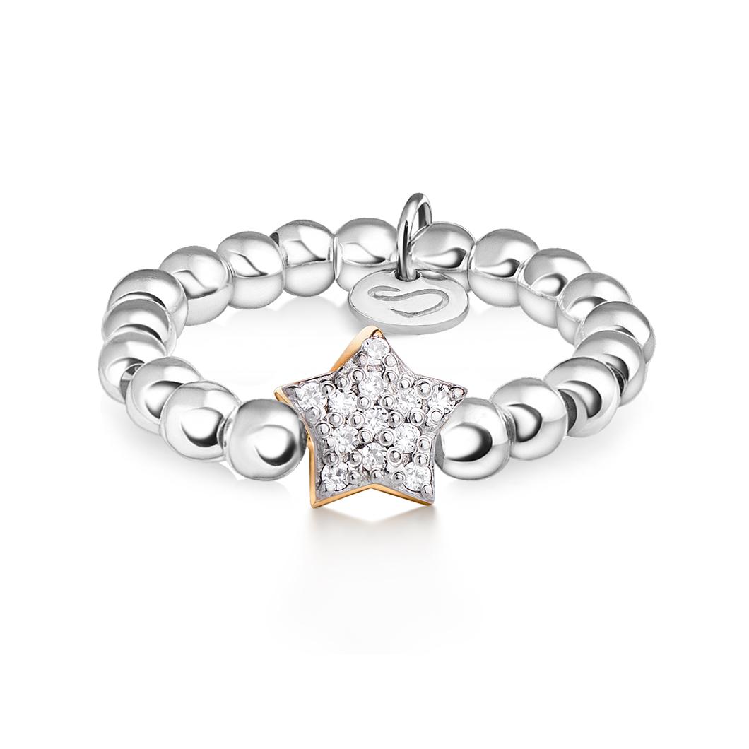 Кольцо из бусин «Звездочка с камушками»