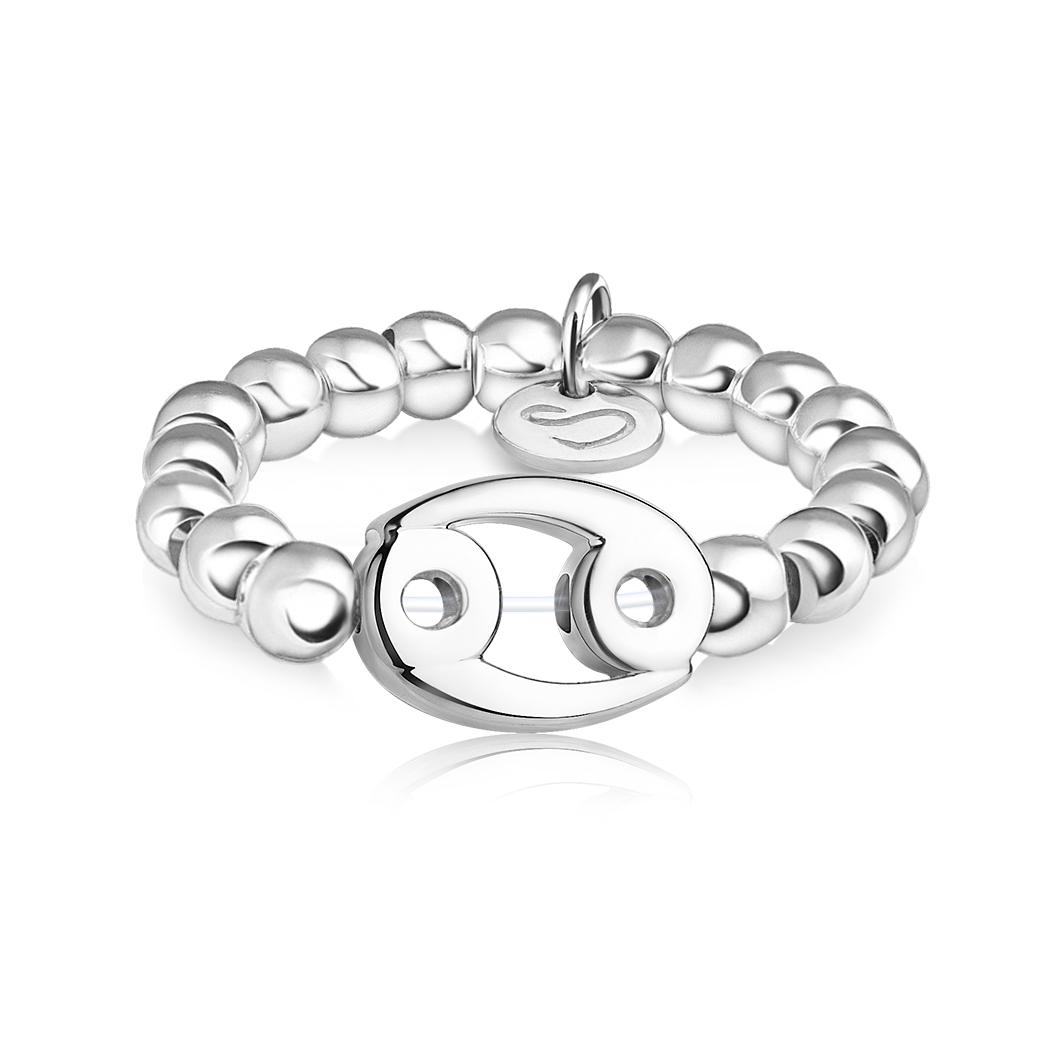 Кольцо из бусин знак зодиака «Рак»