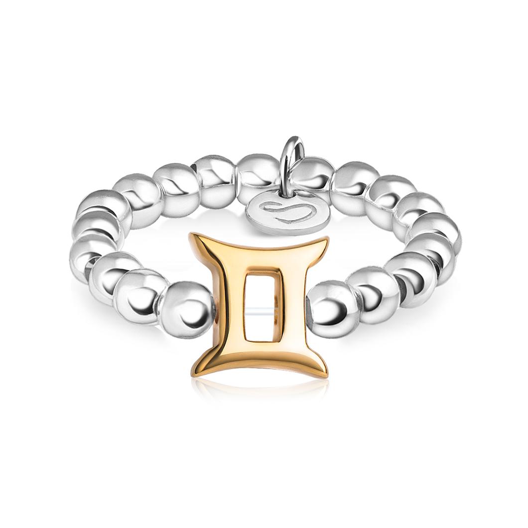 Кольцо из бусин знак зодиака «Близнецы»