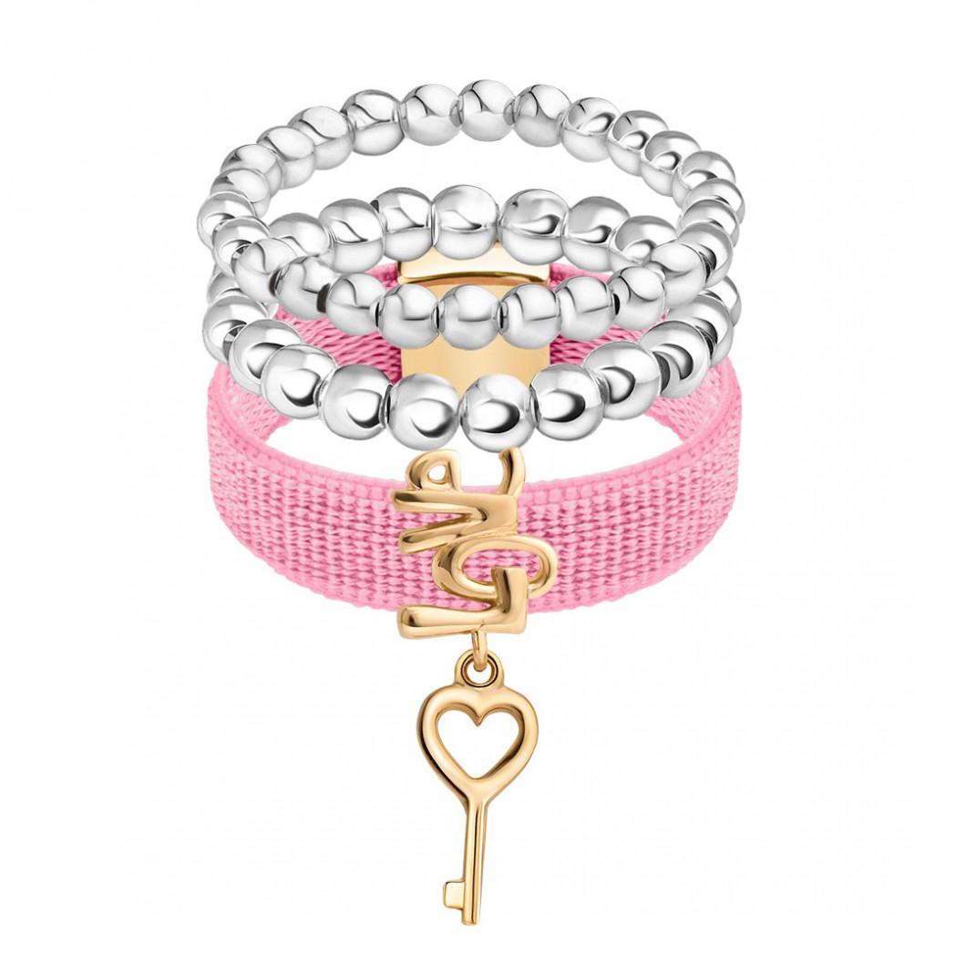 Набор колец на ленте с шармиком на подвесе «Ключик любви» и бусины