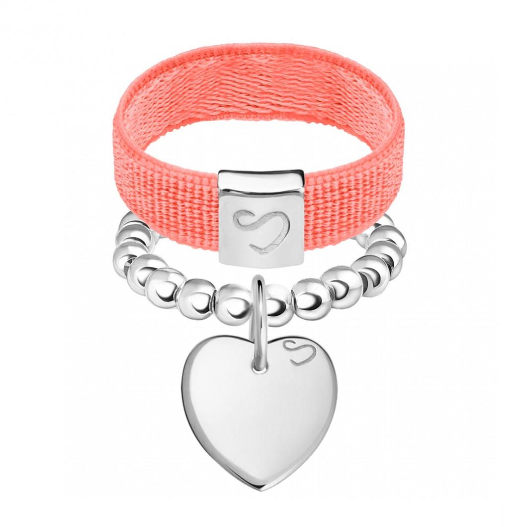 Набор колец на ленте и бусины c подвеской «Сердце мини»