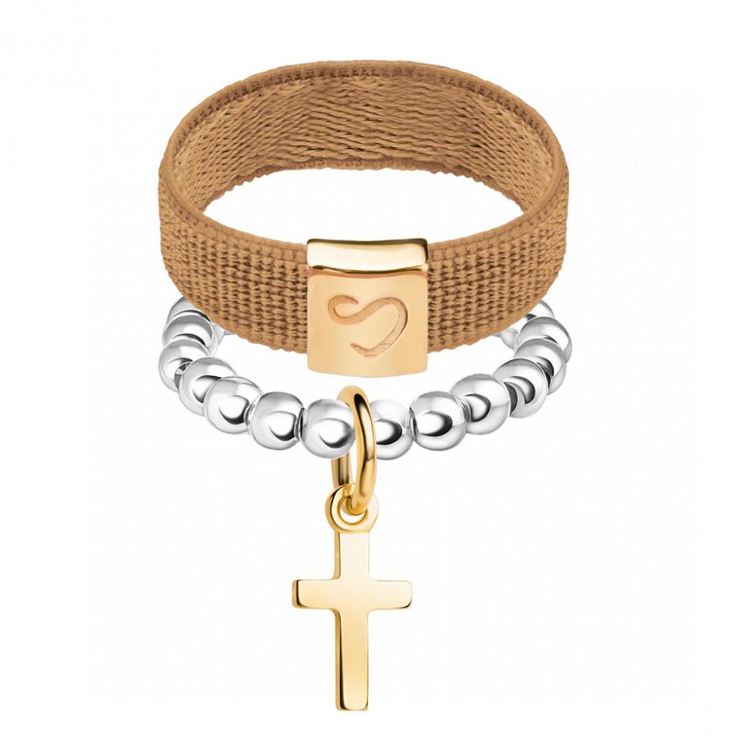Набор колец на ленте и бусины c шармиком «Крестик»