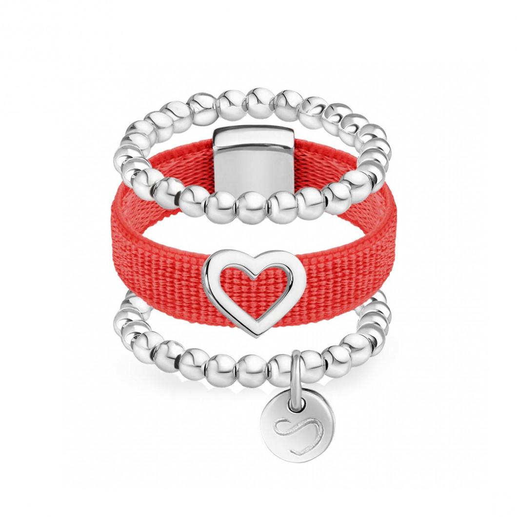 Набор колец на ленте с шармиком «Контурное сердце» и бусины мини