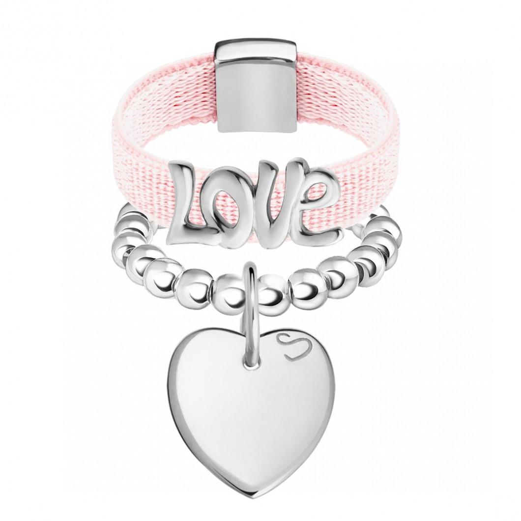 Набор колец на ленте с шармиком «Любовь» и бусины c подвеской «Сердце мини»