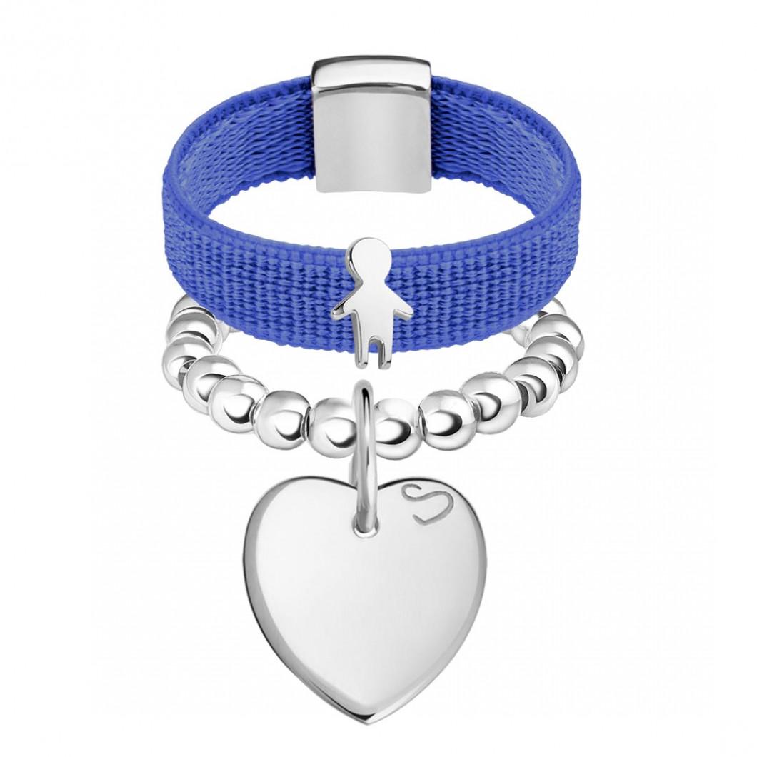 Набор колец на ленте с шармиком «Мальчик» и бусины c подвеской «Сердце мини»