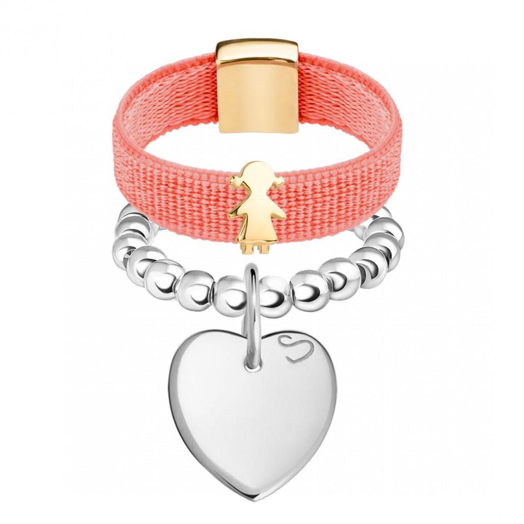 Набор колец на ленте с шармиком «Девочка» и бусины c подвеской «Сердце мини»