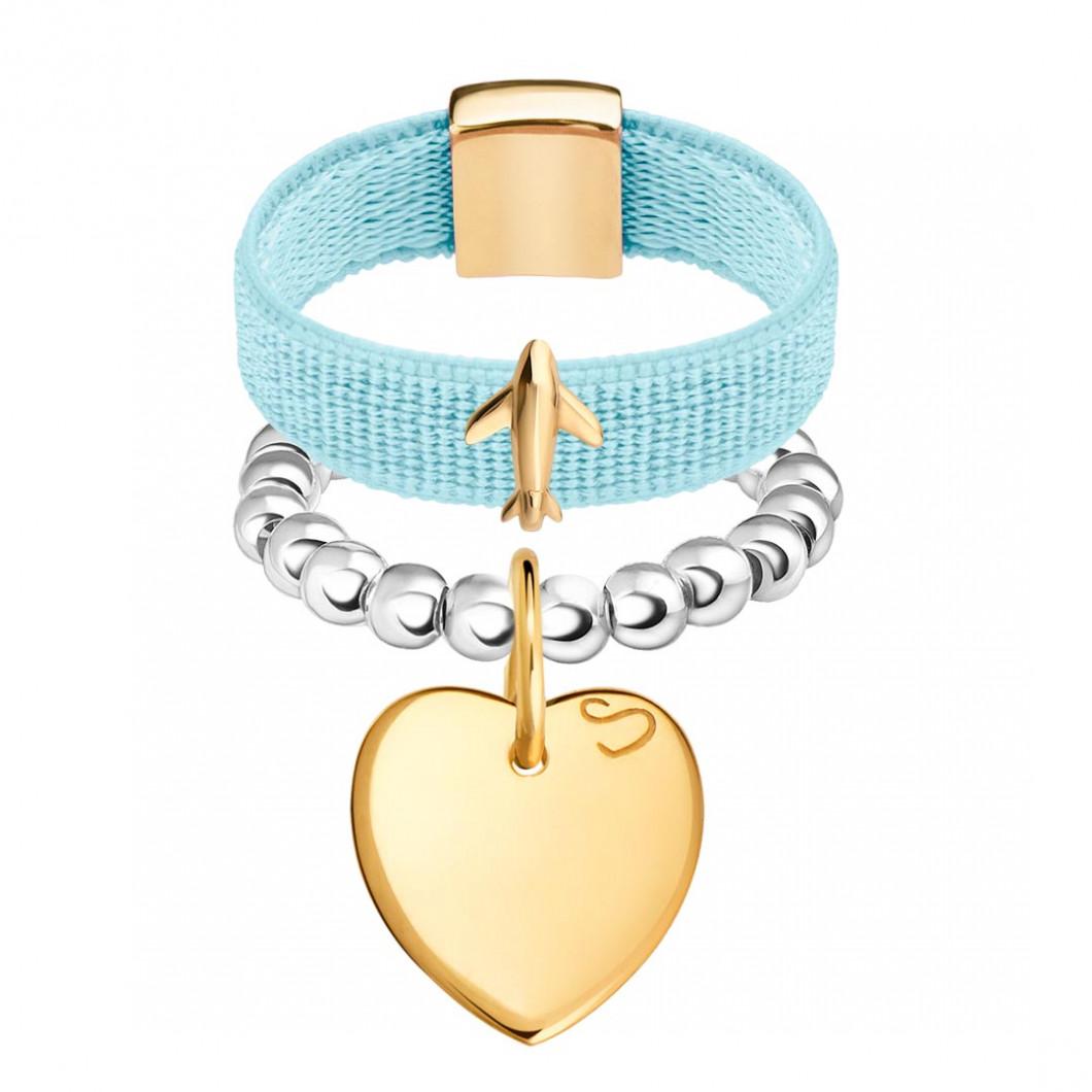 Набор колец на ленте с шармиком «Самолёт» и бусины c подвеской «Сердце мини»