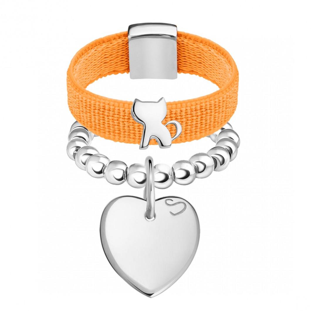 Набор колец на ленте с шармиком «Котик» и бусины c подвеской «Сердце мини»