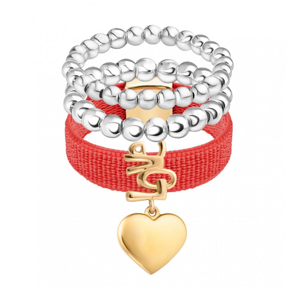 Набор колец на ленте с шармиком на подвесе «Сердце любви» и бусины