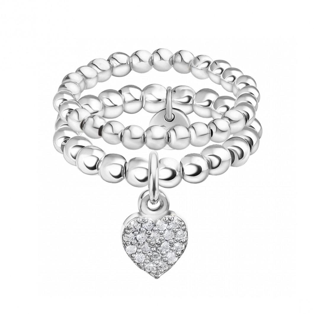 Набор колец из бусин c шармиком на петельке «Сердце с камушками»