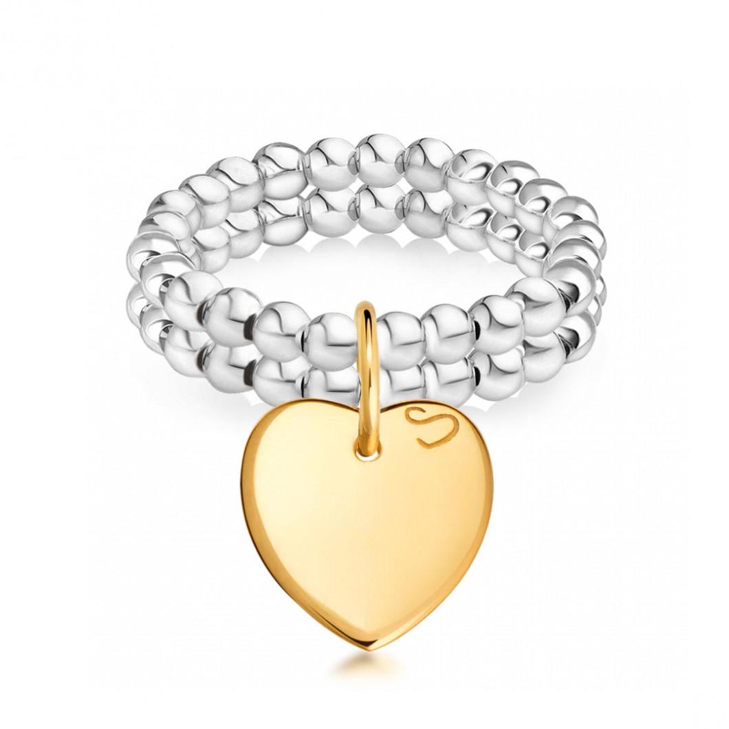 Набор колец из бусин мини c подвеской «Сердце мини»