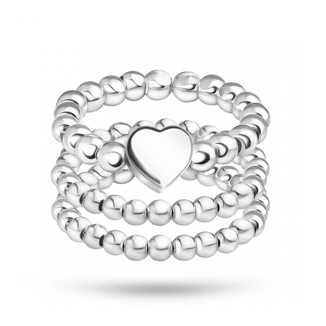 Набор колец из бусин c шармиком «Сердце»