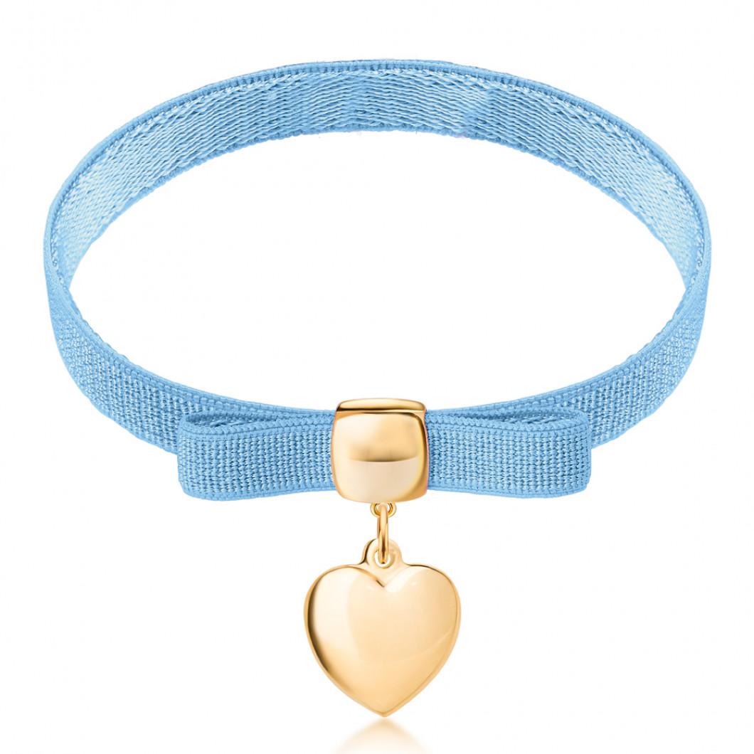 Браслет с клипсой на бантике с шармиком «Сердце»