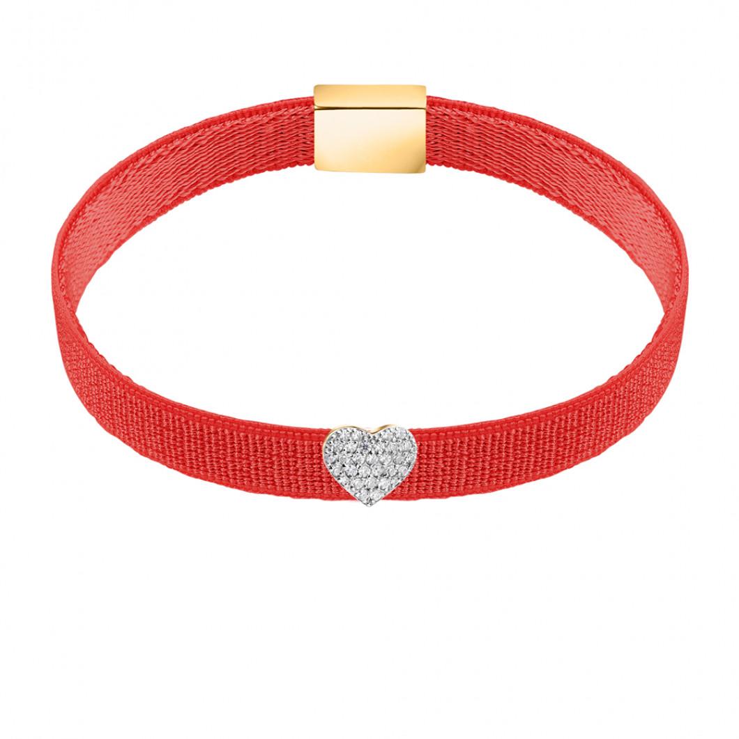 Браслет на ленте с шармиком «Сердце» с цирконием