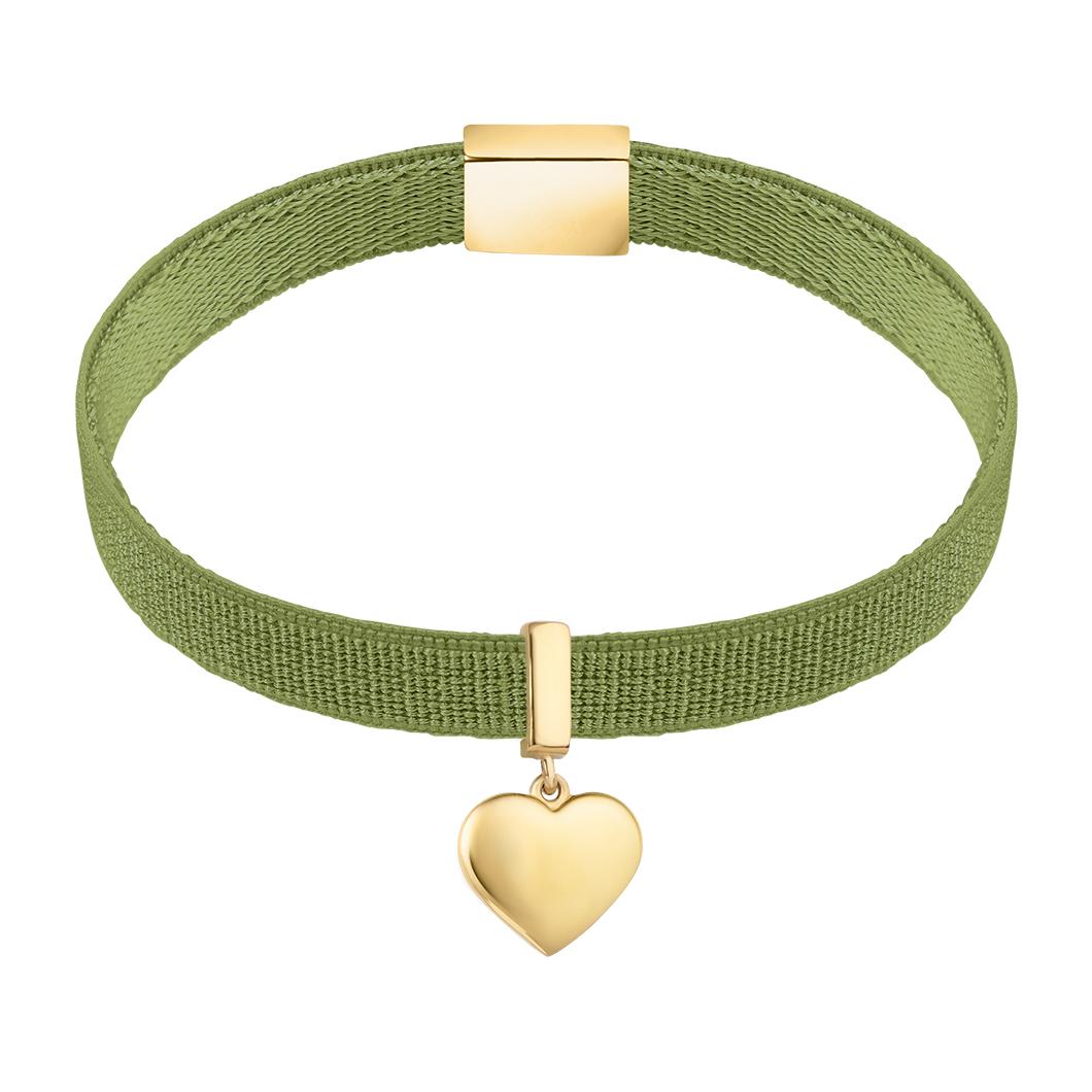 Браслет на ленте с шармиком «Подвесное сердце»