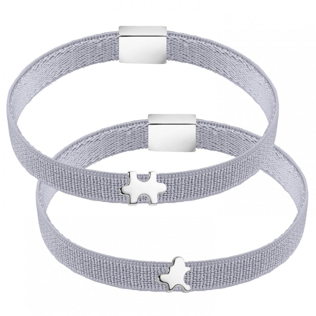 Парные браслеты на ленте с шармиками в виде пазлов