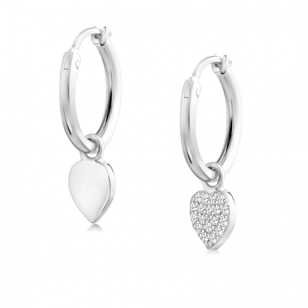 Сережки кольца «Сердце и сердце с камушками»