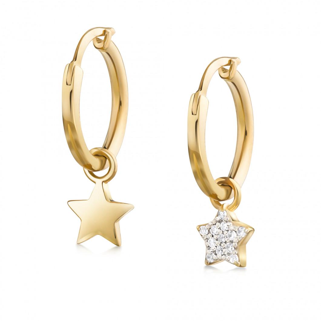 Сережки кольца «Звездочка и звездочка с камушками»
