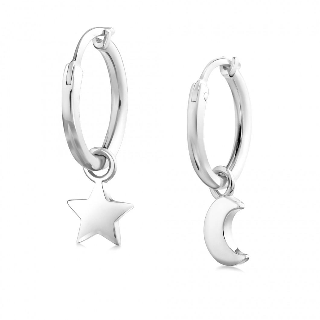 Сережки кольца «Звездочка и месяц»