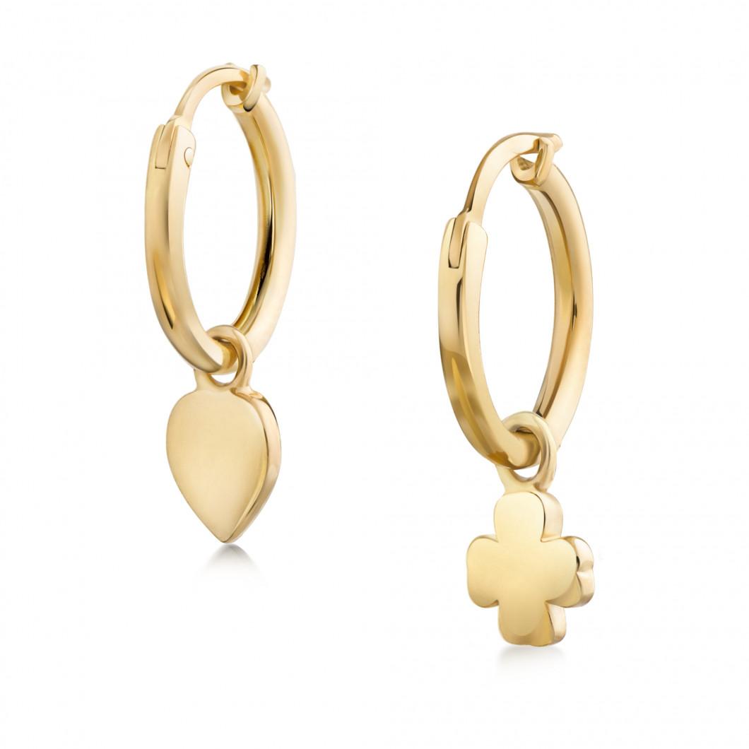 Сережки кольца «Клевер и сердце»