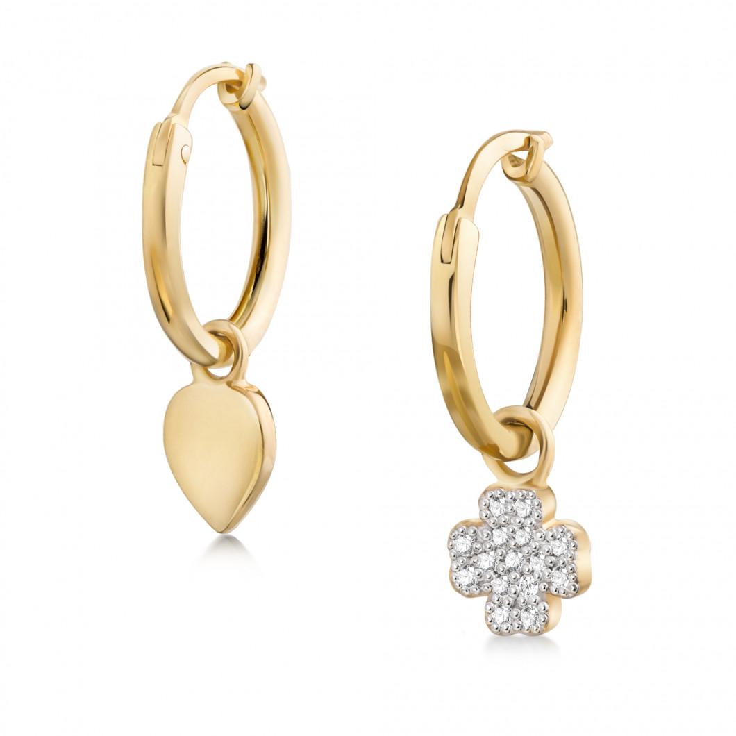 Сережки кольца «Сердце и клевер с камушками»