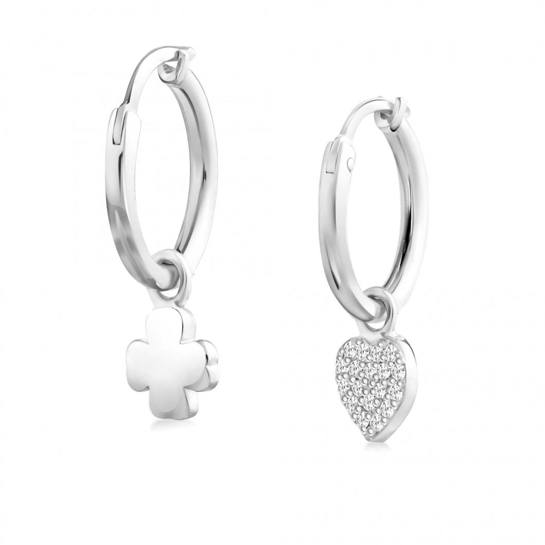 Сережки кольца «Клевер и сердце с камушками»