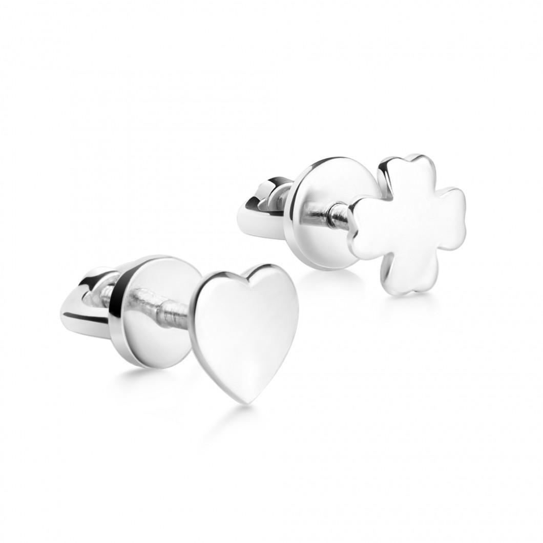 Комплект сережек «Клевер и сердце»