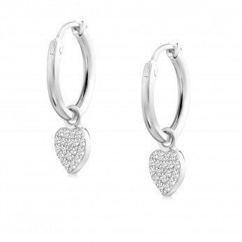 Сережки кольца с камушками «Сердце»