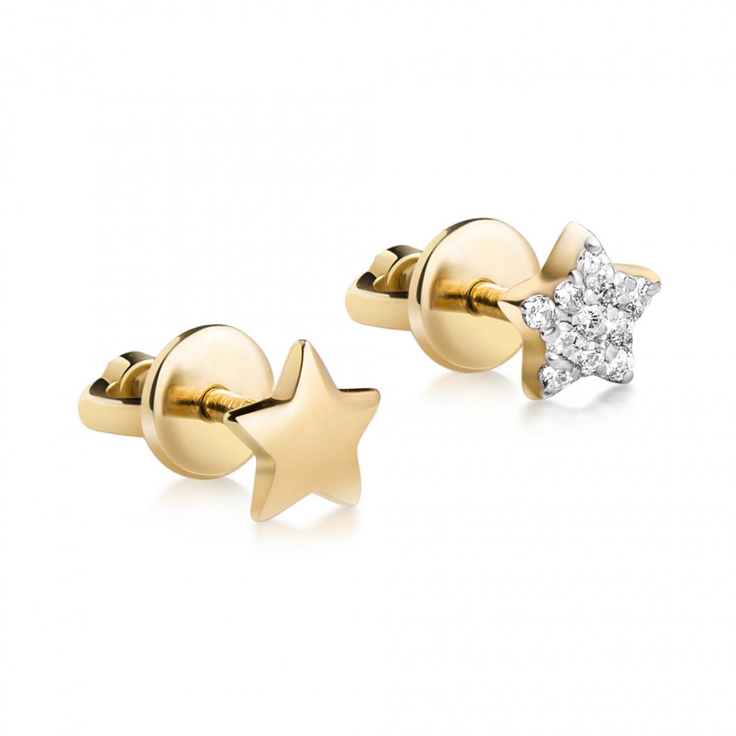 Комплект сережек «Звездочка и звездочка с камушками»